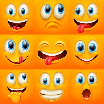 Cartoon faces. funny face expressions, caricature emotions. cute character with different expressive eyes and mouth,emoticon collection