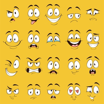 Cartoon faces. funny face expressions, caricature emotions. cute character with different expressive eyes and mouth, happy tongue emoticon collection