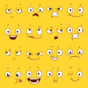 Cartoon faces with different expressions set