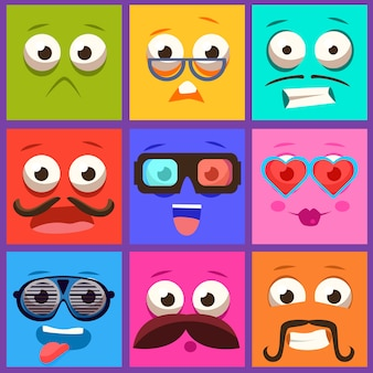Cartoon faces with emotions and mustache. set