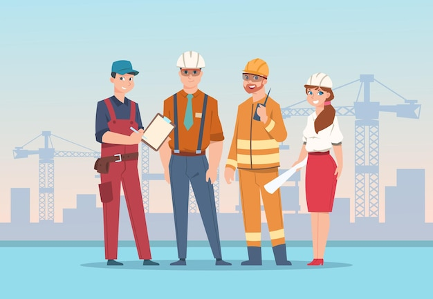 Cartoon factory workers and business characters at construction