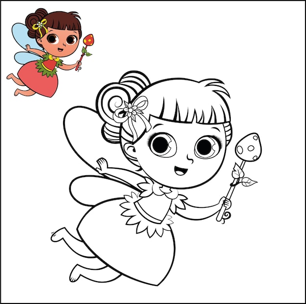 Cartoon fairy character for coloring page activity vector illustration