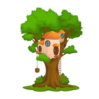 Cartoon fairy house or dwelling on oak tree, dwarf or elf home
