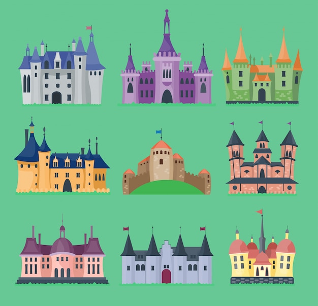 Cartoon fairy tale castle key-stone palace tower icon knight medieval architecture castle building illustration. fantasy old fortress kingdom stronghold royal chess
