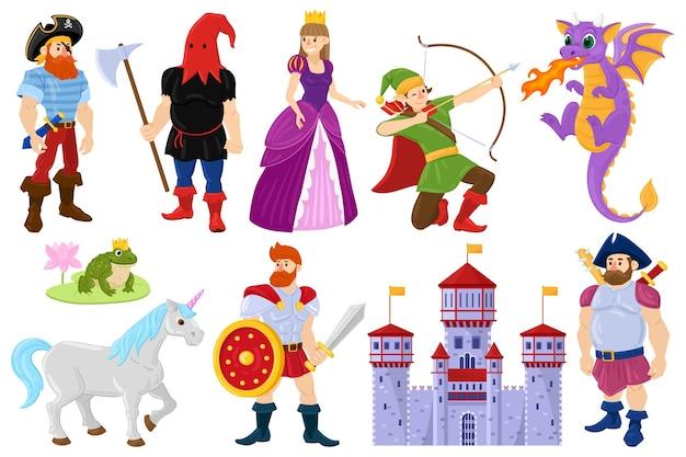 Cartoon fairy tale dragon, pirate, princess fantasy characters. fairy tale fantasy unicorn, medieval castle, dragon vector illustration set. magical world fairy tale heroes