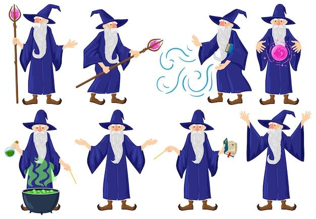 漫画のおとぎ話の中世の魔法使い、魔術師のキャラクター。古い魔術師、ウォーロック、魔術の男性のおとぎ話のヒーローのベクトルイラストセット。呪文を練習するミステリーウィザード