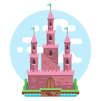 Cartoon fairy tale pink alcazar castle illustration. princess pink mysterious house with flag