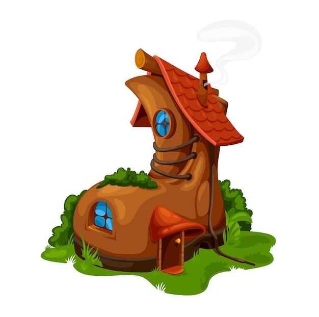 Мультяшный сказочный дом для ботинок, векторная фея, дом гнома или гнома. жилище в старой обуви с деревянной дверью, окнами, развязанными шнурками и черепичной крышей. милый мультфильм фэнтези, здание на зеленом поле с травой
