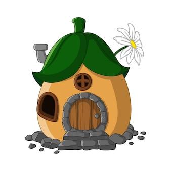 Мультяшный сказочный домик с крышей из листьев