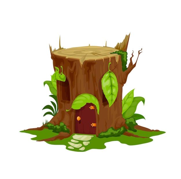 Cartoon fairytale stump house, vector stub home