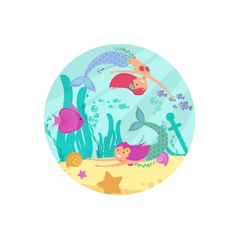 Cartoon fairytale underwater  banner with mermaids and fishes