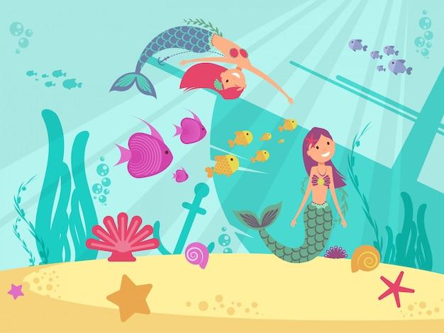 Cartoon fairytale underwater vector background with mermaids