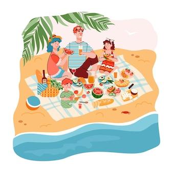 Мультяшная семья на пляжном пикнике счастливые родители и дети едят еду