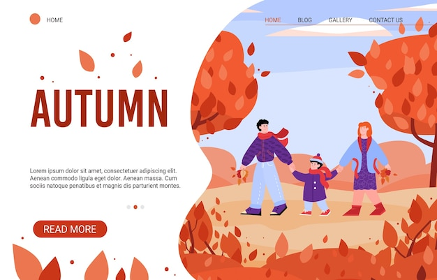 Cartoon family in autumn nature - website banner template