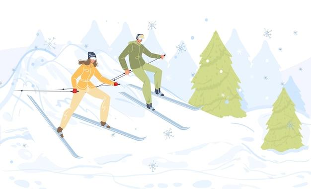 Семейные персонажи мультфильмов, занимающиеся зимними видами спорта на свежем воздухе, катание на лыжах в снегу, здоровый образ жизни, спорт и концепция горнолыжного курорта