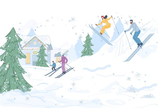 冬の野外活動、雪の中でのスキー、健康的なライフスタイル、スポーツとスキーリゾートのコンセプトを行う漫画の家族のキャラクター