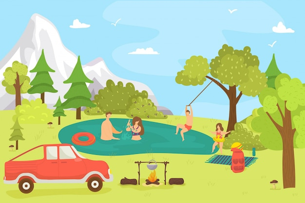 Cartoon family in forest, nature summer landscape and people,  illustration. man woman character at lake, outdoor relax with  child. natural  background, happy picnic at vacation.