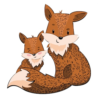 Cartoon family of foxes. a stylized fox with a fox puppy. linear art.