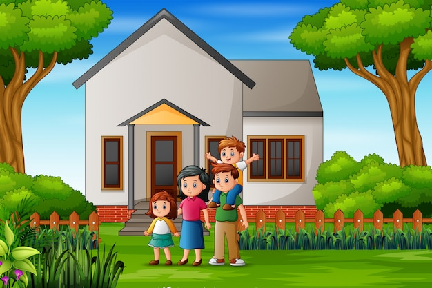 Cartoon family in front of the house yard