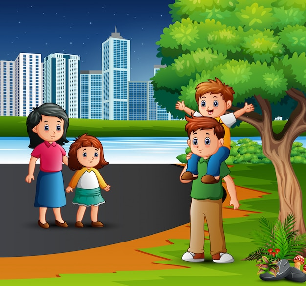 Cartoon family having fun in the city park