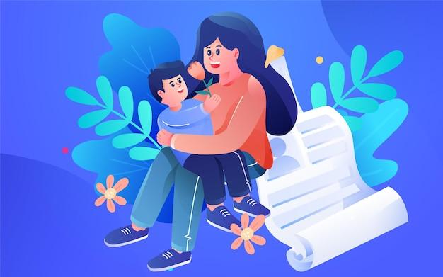 Cartoon family medical health insurance policy   illustration