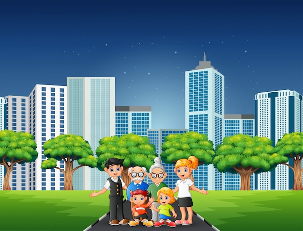 Cartoon family members standing on the road