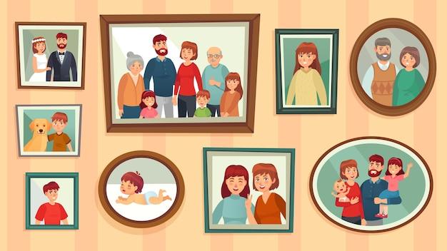 Cartoon family photo frames.