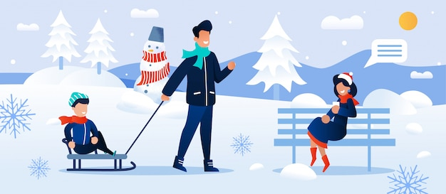 Cartoon family rest in snowy forest park together illustration