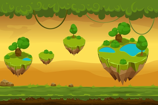 Cartoon fantastic forest landscape. nature panorama for game, liana and covering grass, landscape game. vector illustration
