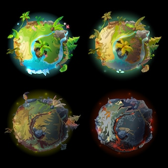 환상적인 행성 지구, 세계 진화 세트 만화. 게임을위한 우주 공간 요소