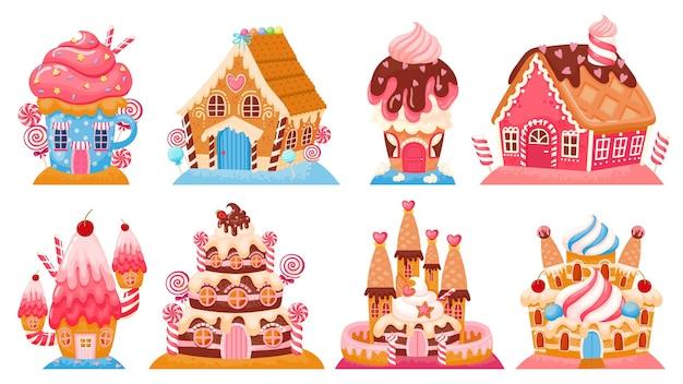 漫画のファンタジーキャンディーハウスとおとぎ話の甘い城。ドリームランドケーキの建物。チョコレート、ジンジャーブレッド、アイスクリームの家のベクトルを設定します。釉薬、トッピング、クリームのデザートの家
