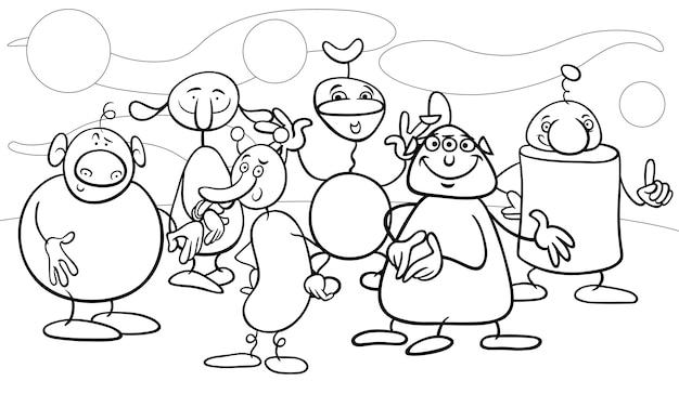 Cartoon fantasy characters coloring page
