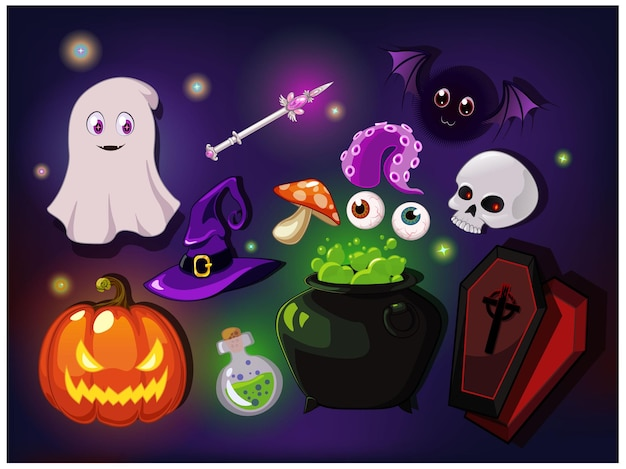 Cartoon fantasy magic icons for computer game. witchcraft objects, gaming objects for app. vector illustration.