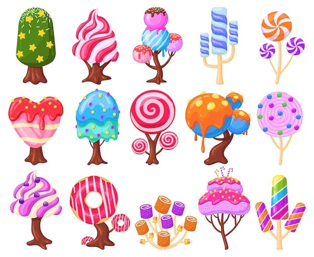 Cartoon fantasy sweet candy land caramel trees. fantasy nature, game design sweet candy landscape elements vector illustration set. caramel, ice cream and marshmallow trees