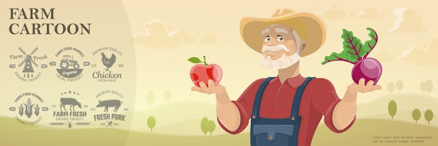Cartoon farm and agriculture background with monochrome farming emblems and farmer holding apple and beet on beautiful field landscape