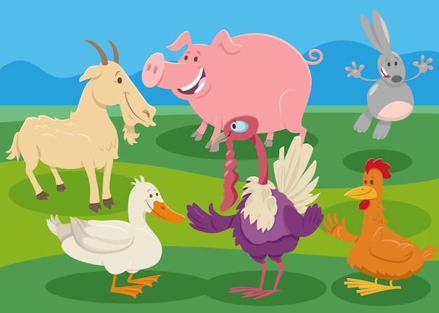 Персонажи мультфильмов сельскохозяйственных животных в сельской местности