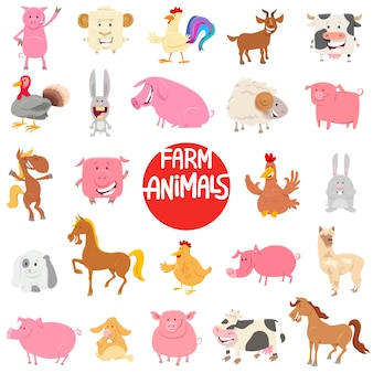 Cartoon farm animal characters large collection