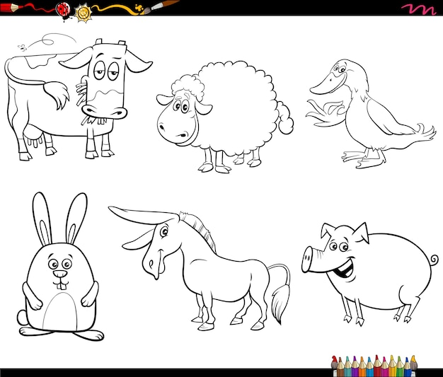 Cartoon farm animal characters set coloring book page