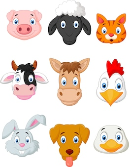 Cartoon farm animal set