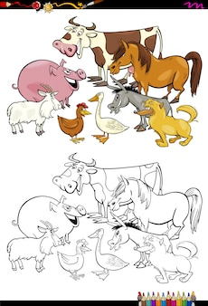 Cartoon farm animals coloring book