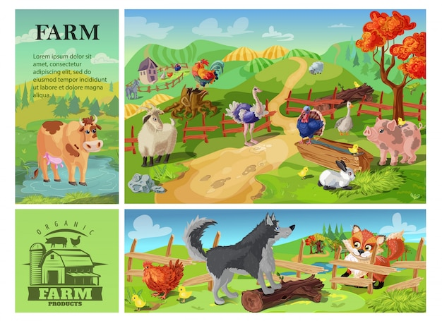 Композиция из мультяшных животных с коровьей козлиной свиньей, петухом, кроликом, страусом и индейкой на сельском пейзаже и собакой, защищающей курицу от лисы
