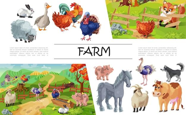 Composizione degli animali da allevamento del fumetto con la volpe dello struzzo della mucca del cane della capra del tacchino del maiale delle pecore del gallo dell'oca di coniglio che esamina pollo