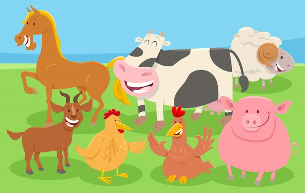Cartoon farm animals in the countryside