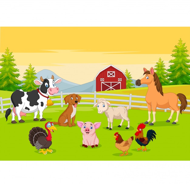 Cartoon farm animals in the farming background