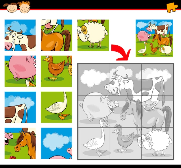 만화 농장 동물 직소 퍼즐