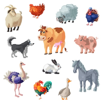 Cartoon farm animals set