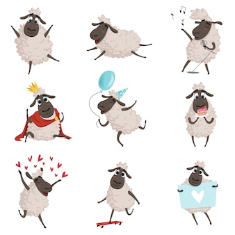 Cartoon farm animals, sheep playing and making different actions