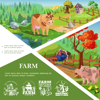 Cartoon farm animals template with cute pig turkey cow goose chickens beautiful nature and countryside landscapes and farming labels