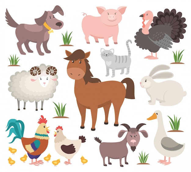 Cartoon farm animals. turkey cat ram goat chicken rabbit horse.
