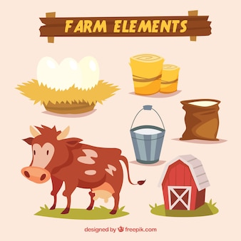 Cartoon farm elements and cow